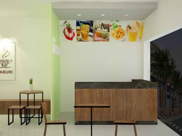 Quầy thu ngân quán trà sữa Naburi