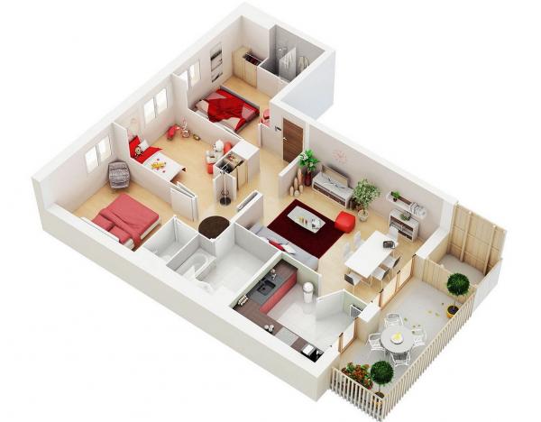 Thiết kế nội thất chung cư hiện đại 3 phòng ngủ mẫu 10