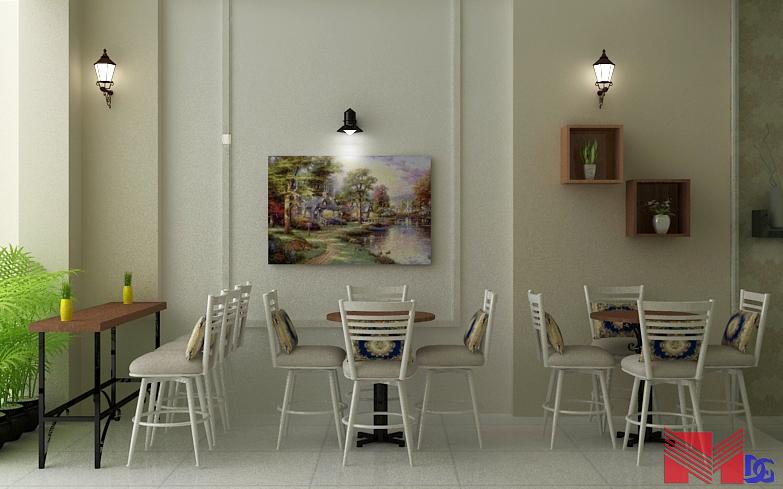 Thiết kế nội thất quán trà sữa - Bàn ghế và khung tranh