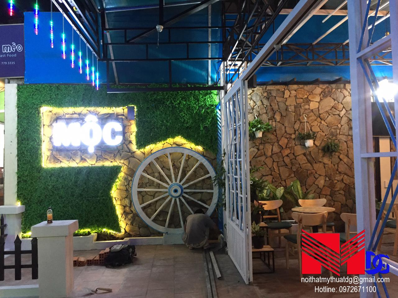 Thi công quán cafe sân vườn Mộc Coffee (11)