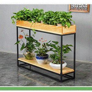 Kệ trồng cây chân sắt mặt gỗ KH-01