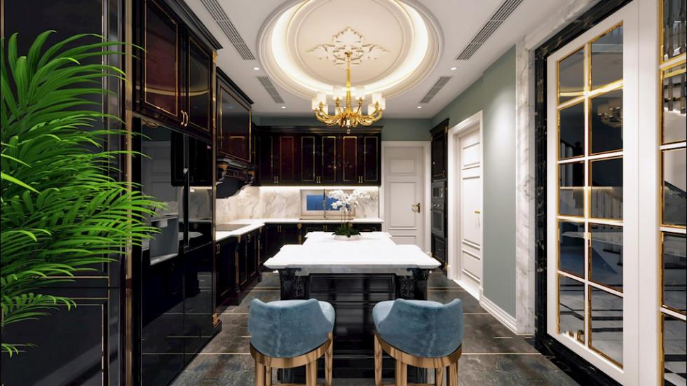 Phòng bếp có đảo sang trọng và ấn tượng phong cách tân cổ điển