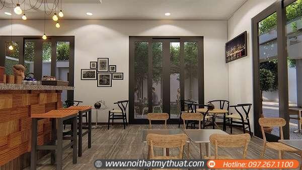 Thiết kế quán cafe trong nhà với phong cách hiện đại