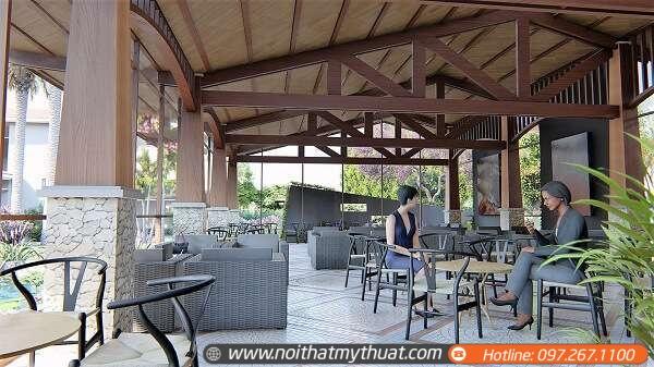 Cafe ngoài trời không chỉ có khu vực ngoài trời mà còn có khu vực trong nhà để khách hàng lựa chọn chỗ ngồi thích hợp