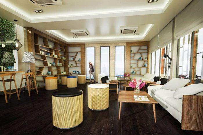 Mẫu thiết kế nội thất quán cafe sách T002