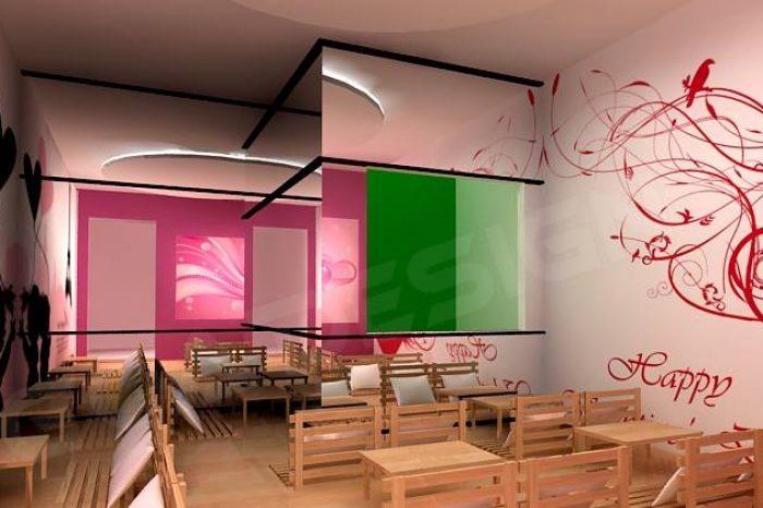 Mẫu thiết kế nội thất quán trà sữa teen T004