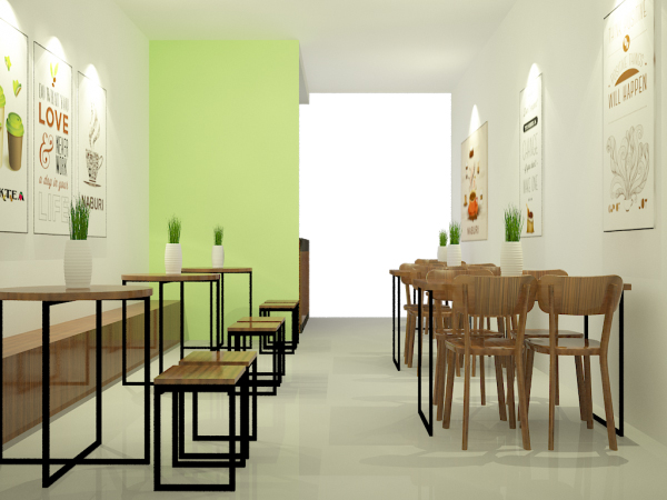 Thiết kế quán trà sữa nhỏ giá rẻ Nabury