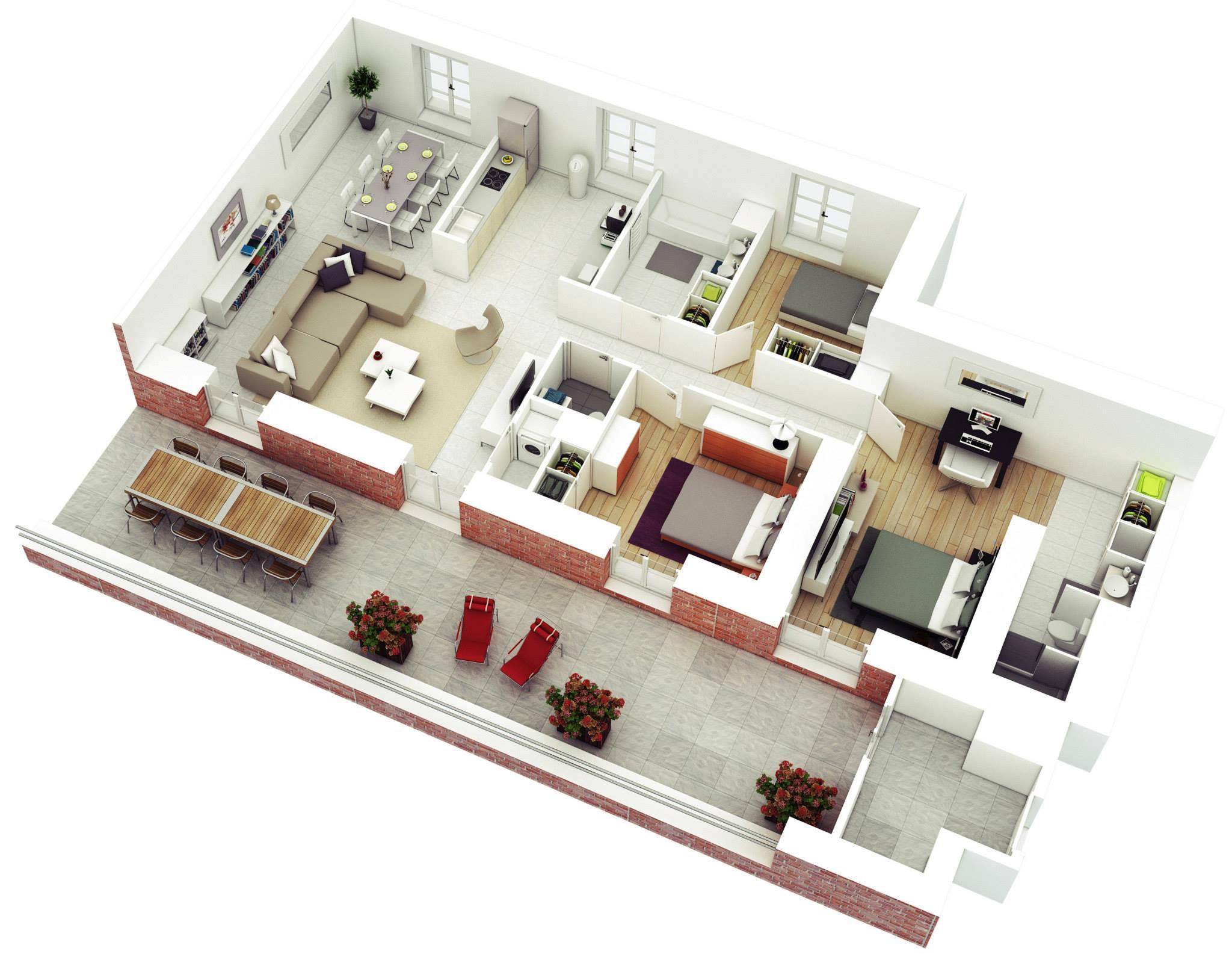Thiết kế nội thất chung cư hiện đại 3 phòng ngủ - mẫu 1