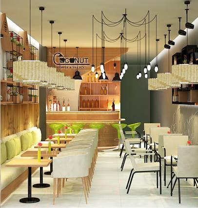 Thiết kế nội thất quán trà sữa hiện đại T006