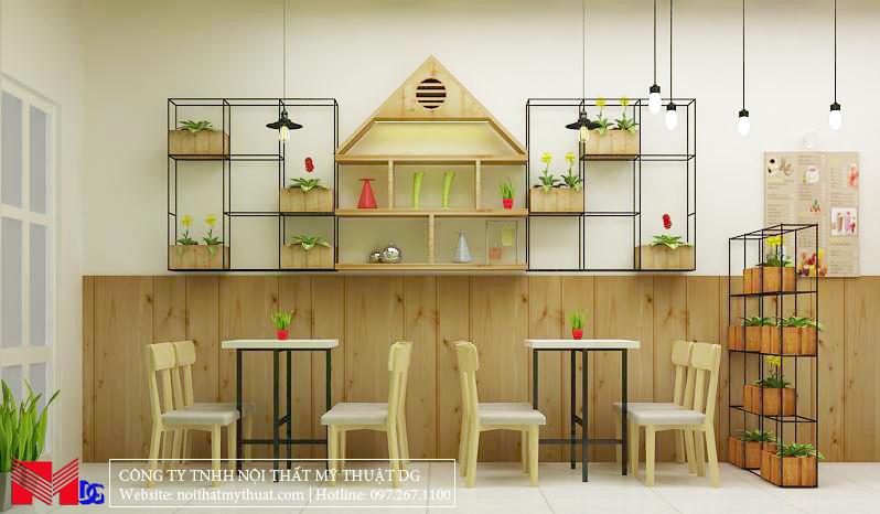 Thiết kế quán cafe tại Kiên Giang - Kệ treo tường