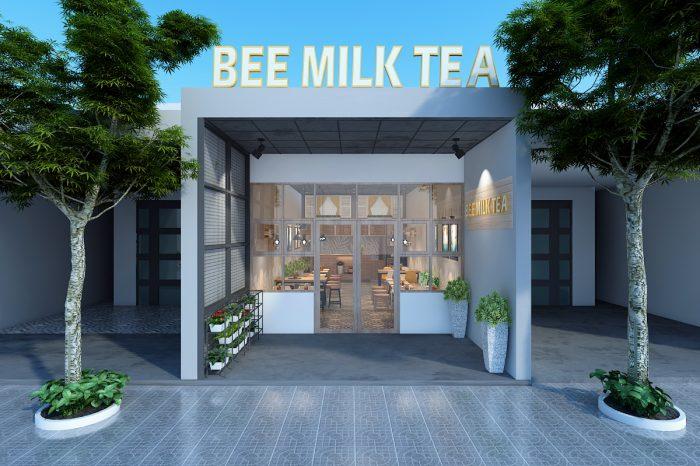 Thiết kế mặt tiền quán trà sữa bee milk tea